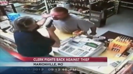 [Video] Armed Robber Flees from Armed Clerk